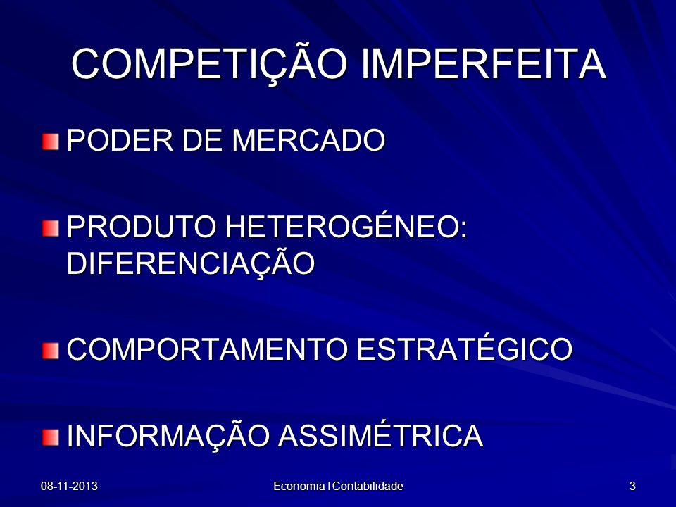 COMPETIÇÃO IMPERFEITA PODER DE MERCADO PRODUTO HETEROGÉNEO: DIFERENCIAÇÃO COMPORTAMENTO ESTRATÉGICO INFORMAÇÃO ASSIMÉTRICA 08-11-2013 Economia I Conta