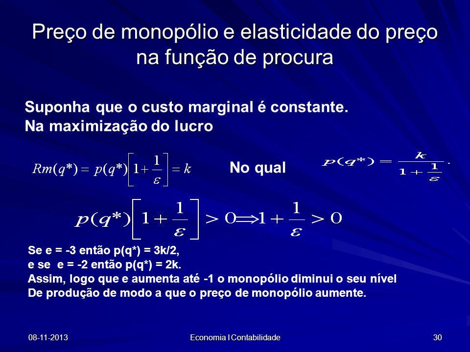 08-11-2013 Economia I Contabilidade 30 Preço de monopólio e elasticidade do preço na função de procura Suponha que o custo marginal é constante. Na ma