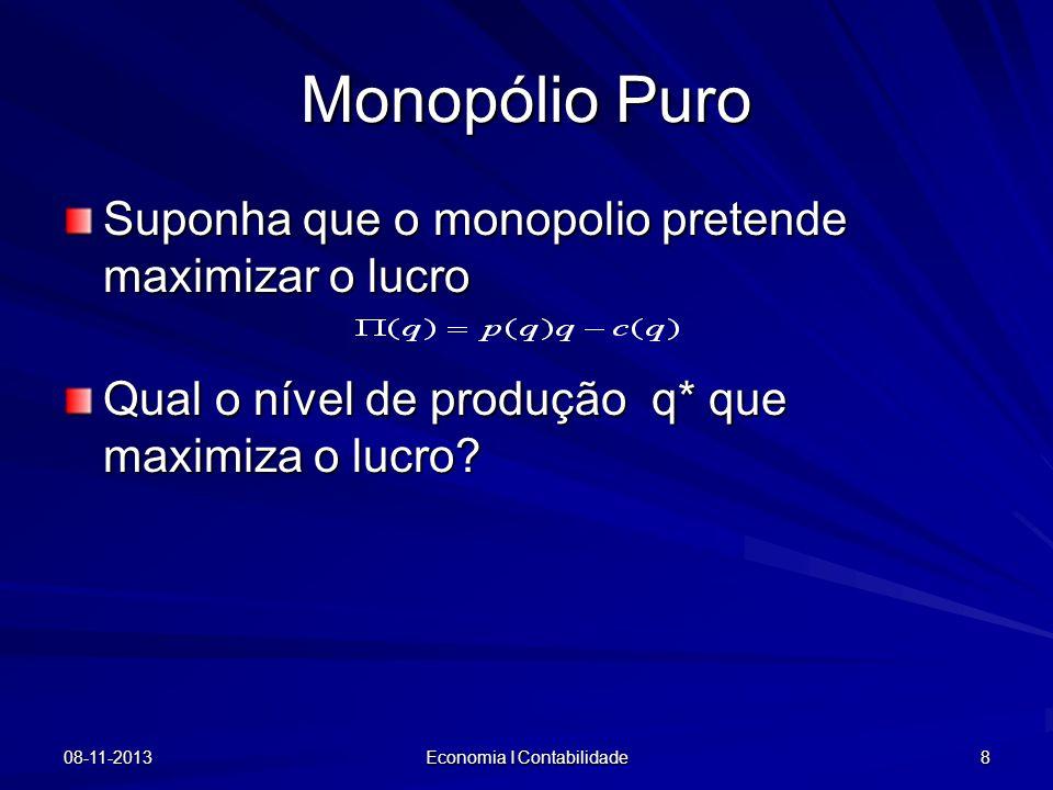 08-11-2013 Economia I Contabilidade 8 Monopólio Puro Suponha que o monopolio pretende maximizar o lucro Qual o nível de produção q* que maximiza o luc