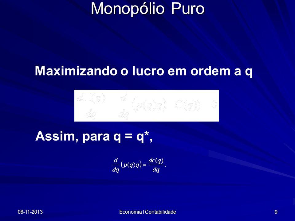 08-11-2013 Economia I Contabilidade 9 Monopólio Puro Maximizando o lucro em ordem a q Assim, para q = q*,