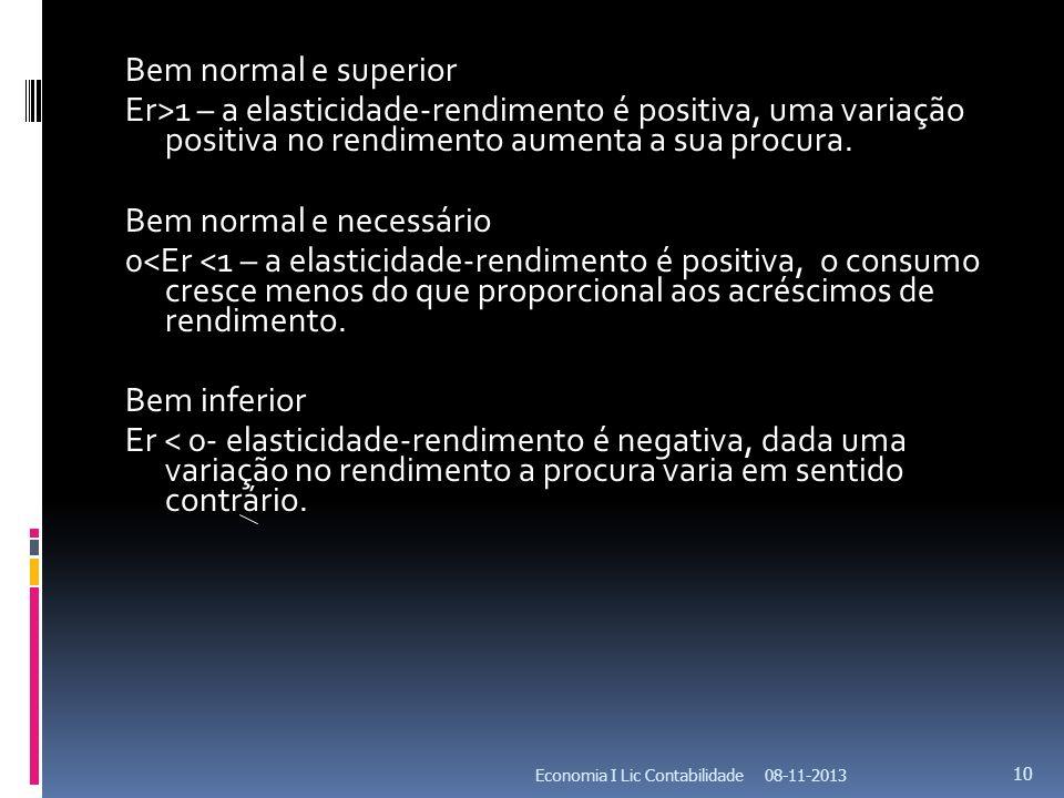 Bem normal e superior Er>1 – a elasticidade-rendimento é positiva, uma variação positiva no rendimento aumenta a sua procura. Bem normal e necessário