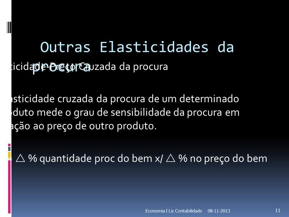 Outras Elasticidades da procura Elasticidade-Preço Cruzada da procura A elasticidade cruzada da procura de um determinado produto mede o grau de sensi