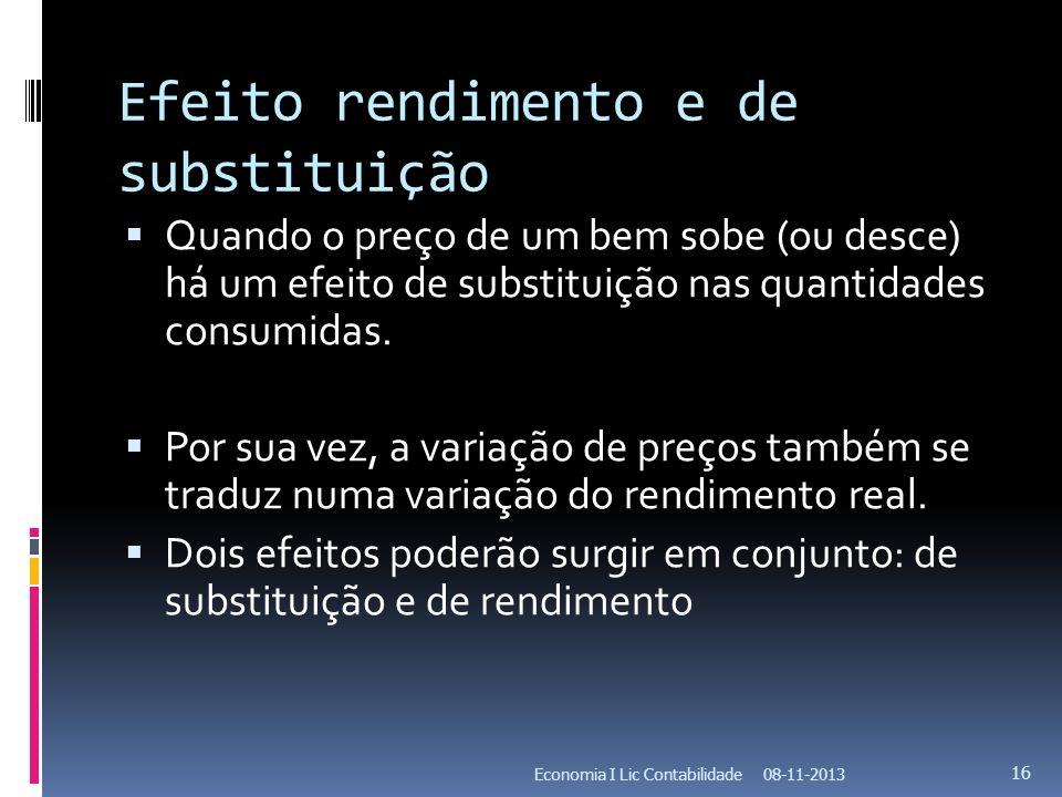 Efeito rendimento e de substituição Quando o preço de um bem sobe (ou desce) há um efeito de substituição nas quantidades consumidas. Por sua vez, a v