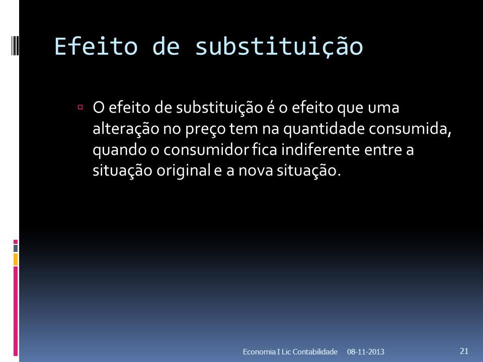 Efeito de substituição O efeito de substituição é o efeito que uma alteração no preço tem na quantidade consumida, quando o consumidor fica indiferent