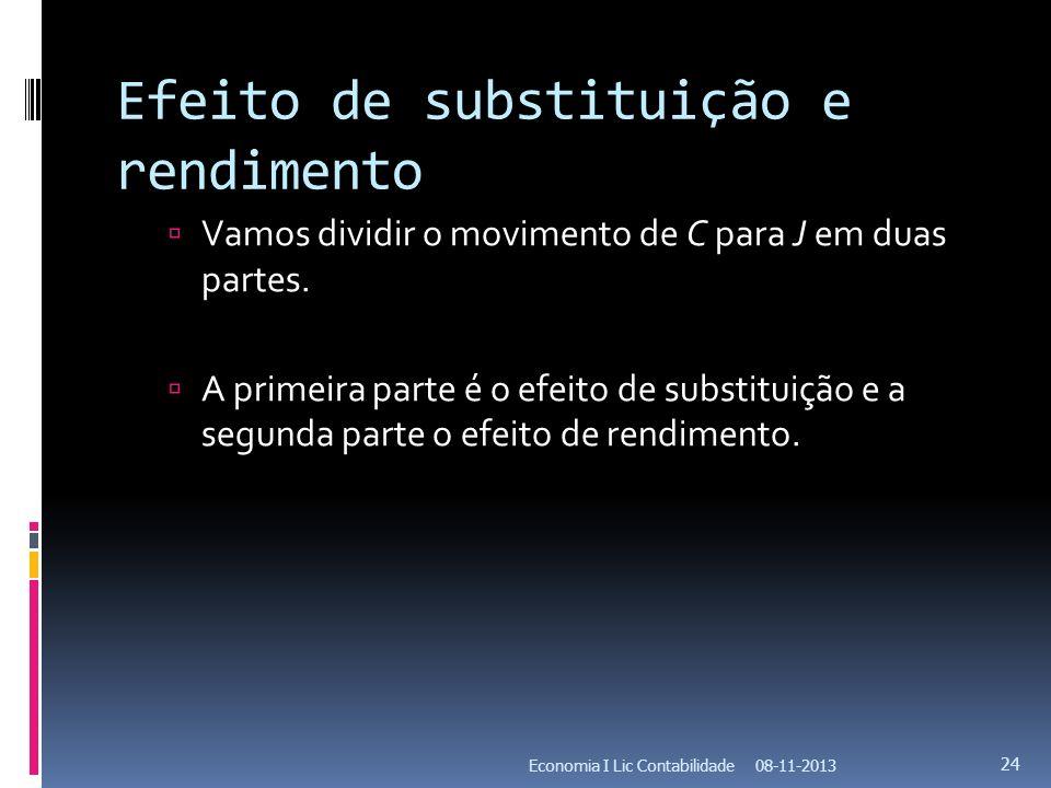 Efeito de substituição e rendimento Vamos dividir o movimento de C para J em duas partes. A primeira parte é o efeito de substituição e a segunda part