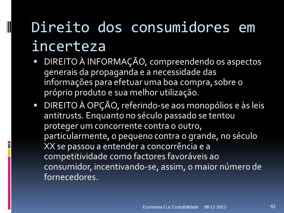 Direito dos consumidores em incerteza DIREITO À INFORMAÇÃO, compreendendo os aspectos generais da propaganda e a necessidade das informações para efet