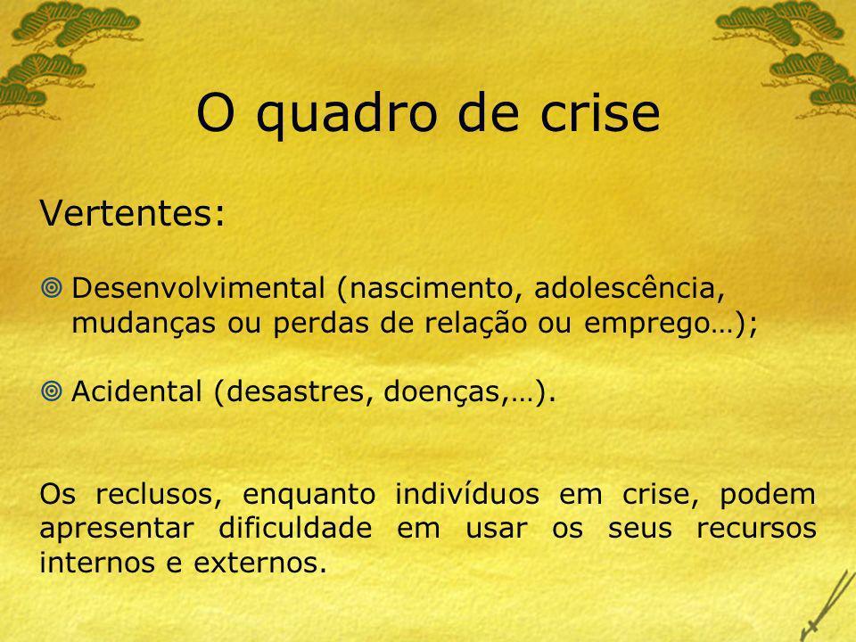 O quadro de crise Vertentes: Desenvolvimental (nascimento, adolescência, mudanças ou perdas de relação ou emprego…); Acidental (desastres, doenças,…).