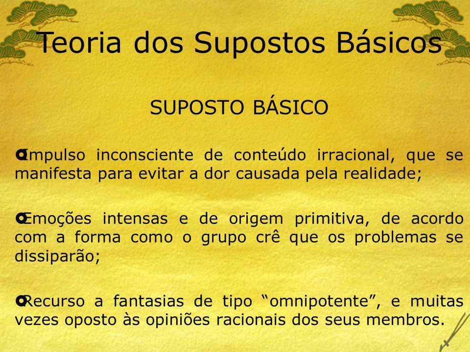 Teoria dos Supostos Básicos Tipos de Supostos Básicos Suposto Básico de Dependência Suposto Básico de Ataque – Fuga Suposto Básico de Acasalamento [Grinberg, L., (1973).
