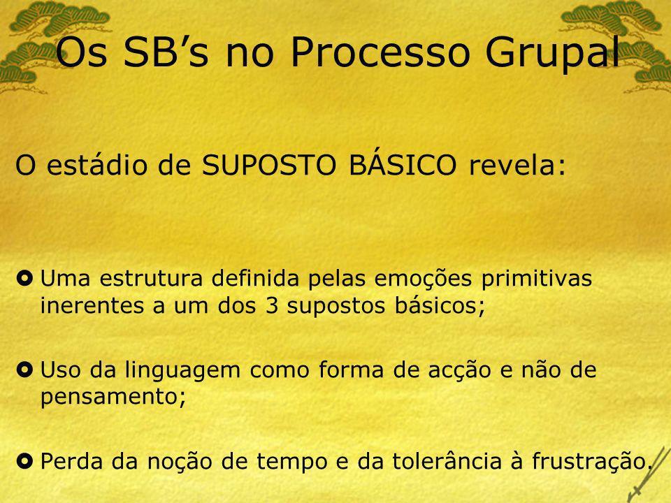 Os SBs no Processo Grupal O estádio de SUPOSTO BÁSICO revela: Uma estrutura definida pelas emoções primitivas inerentes a um dos 3 supostos básicos; U