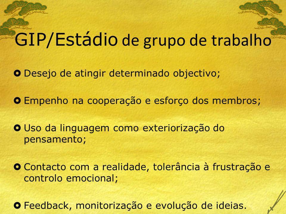 GIP/Estádio de grupo de trabalho Desejo de atingir determinado objectivo; Empenho na cooperação e esforço dos membros; Uso da linguagem como exteriori
