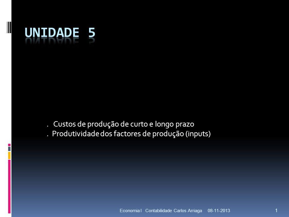 08-11-2013Economia I Contabilidade Carlos Arriaga 1. Custos de produção de curto e longo prazo. Produtividade dos factores de produção (inputs)