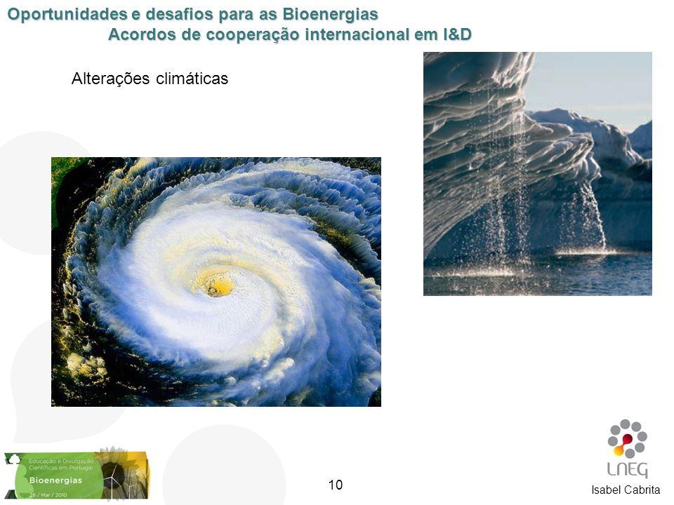 Alterações climáticas Oportunidades e desafios para as Bioenergias Acordos de cooperação internacional em I&D Isabel Cabrita 10