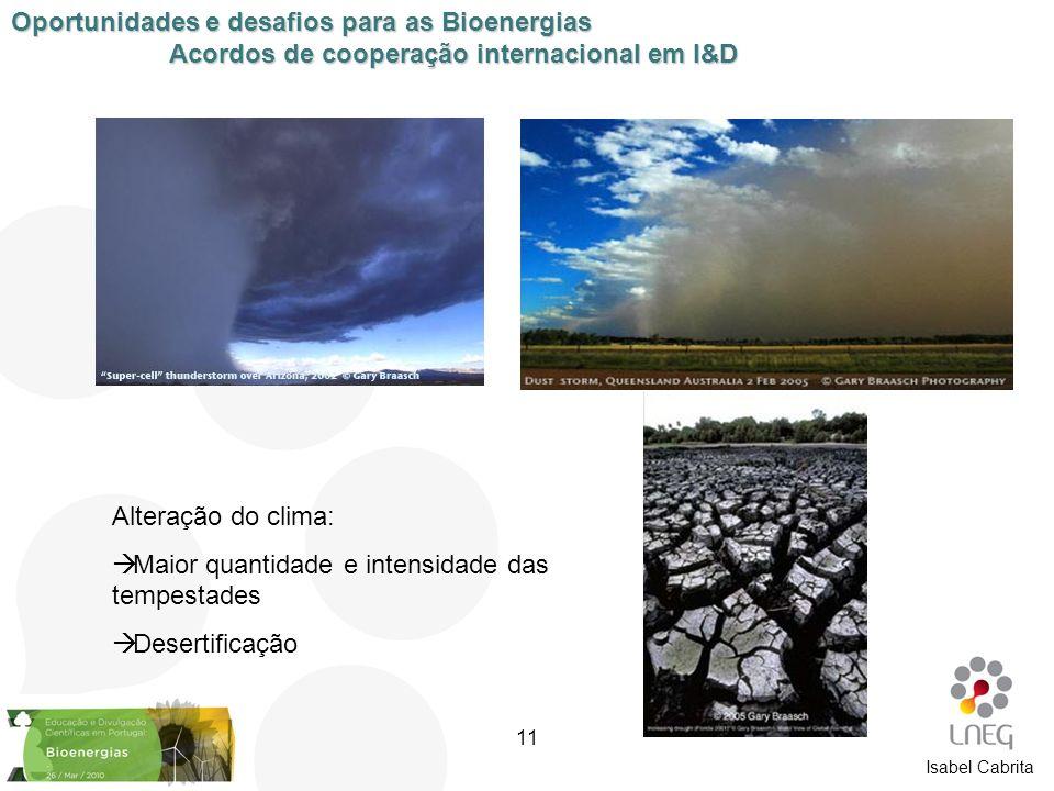 Isabel Cabrita Alteração do clima: Maior quantidade e intensidade das tempestades Desertificação Oportunidades e desafios para as Bioenergias Acordos