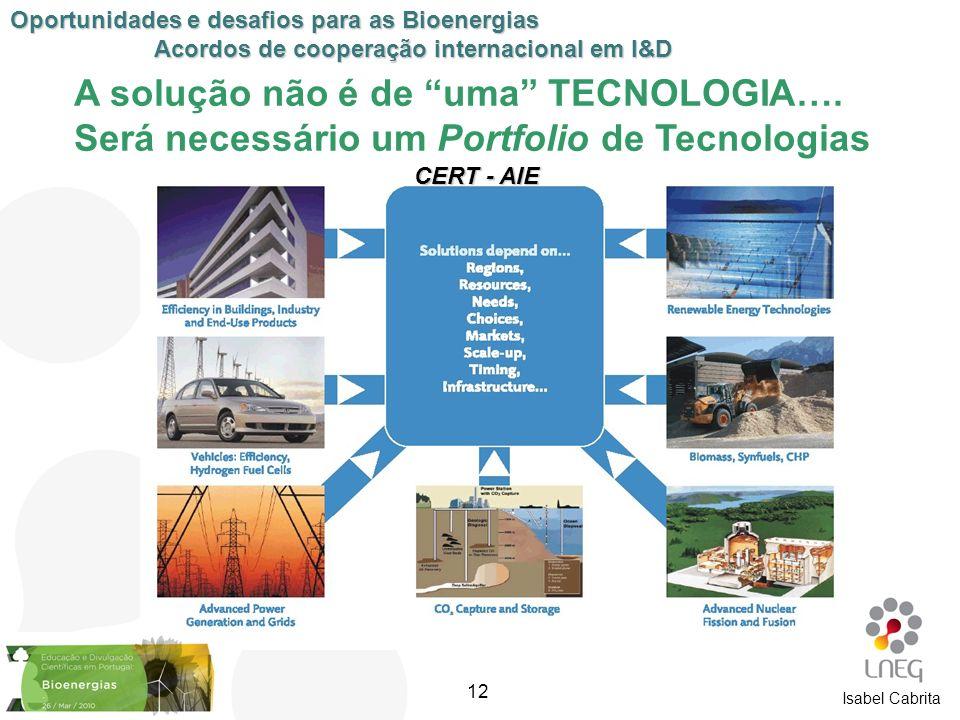 A solução não é de uma TECNOLOGIA…. Será necessário um Portfolio de Tecnologias CERT - AIE Oportunidades e desafios para as Bioenergias Acordos de coo