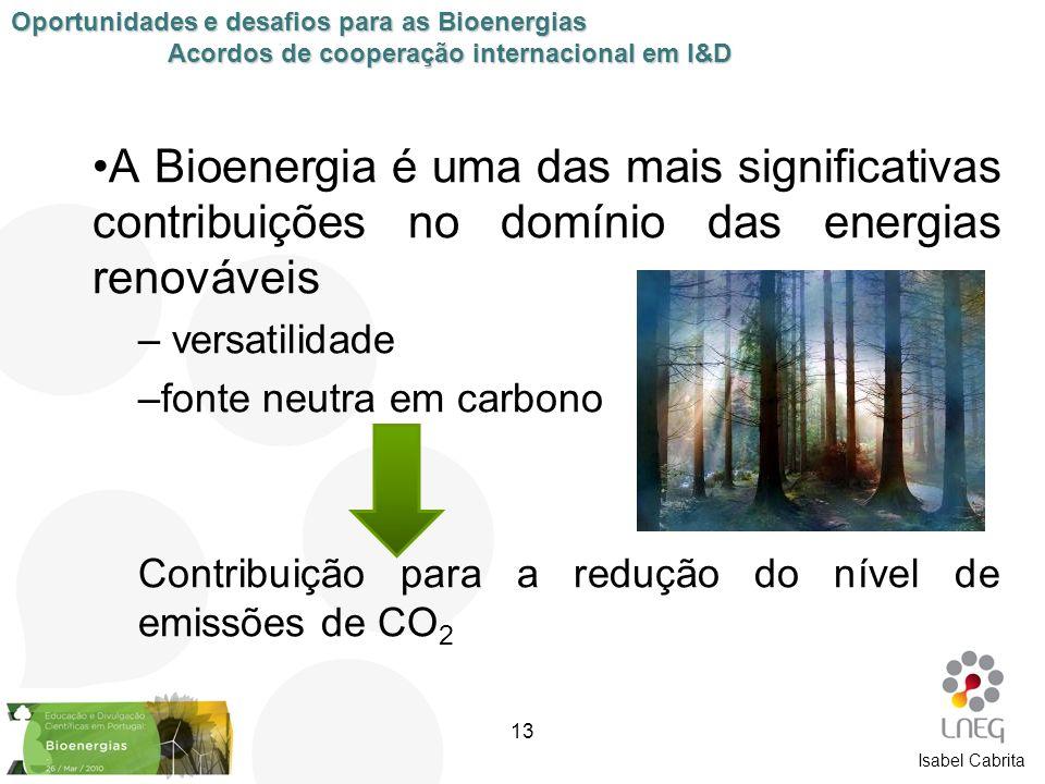 A Bioenergia é uma das mais significativas contribuições no domínio das energias renováveis – versatilidade –fonte neutra em carbono Contribuição para