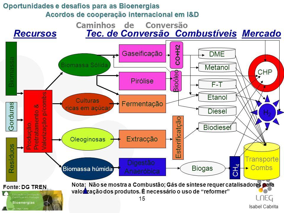 Caminhos de Conversão Biomassa Resíduos Produção, Pretratamento & Valorização p/combs Biomassa Sólida Culturas ricas em açúcar Oleoginosas Biomassa hú