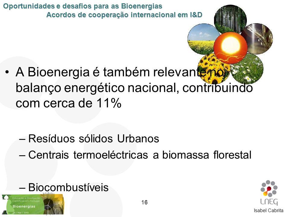 A Bioenergia é também relevante no balanço energético nacional, contribuindo com cerca de 11% –Resíduos sólidos Urbanos –Centrais termoeléctricas a bi