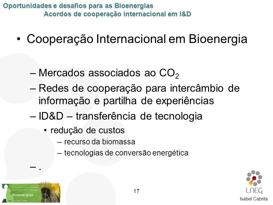 Isabel Cabrita Cooperação Internacional em Bioenergia –Mercados associados ao CO 2 –Redes de cooperação para intercâmbio de informação e partilha de e