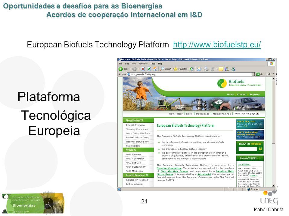 Isabel Cabrita European Biofuels Technology Platform http://www.biofuelstp.eu/http://www.biofuelstp.eu/ Plataforma Tecnológica Europeia Oportunidades