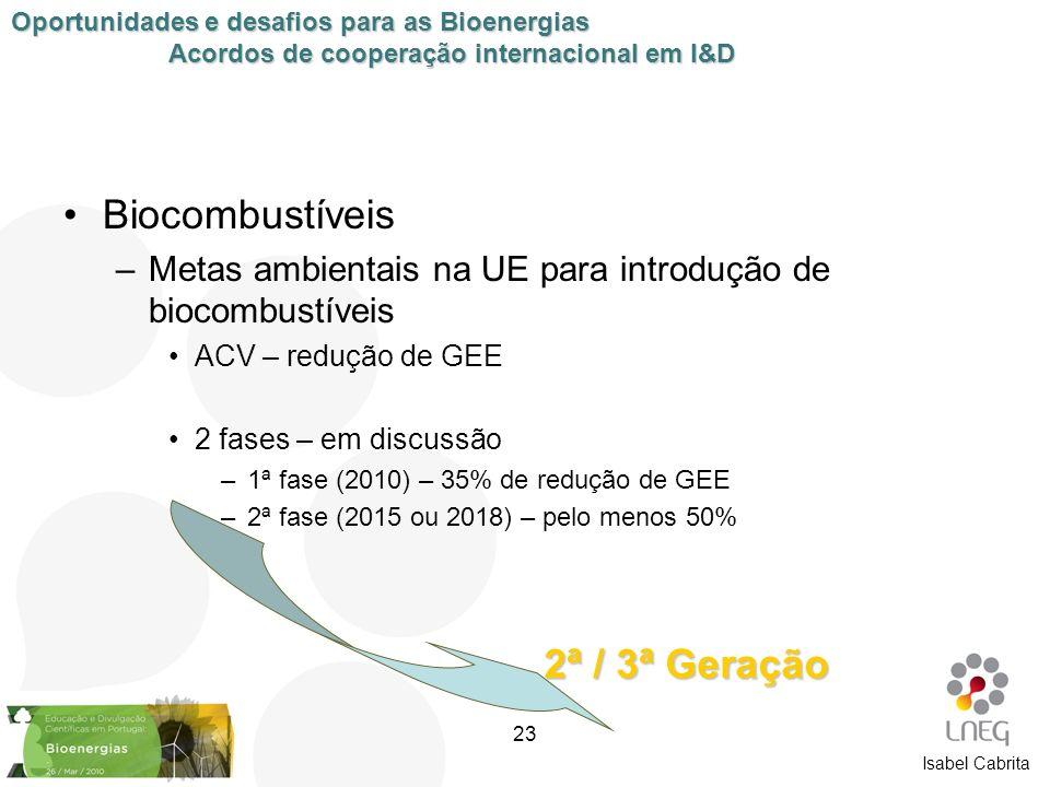 Isabel Cabrita Biocombustíveis –Metas ambientais na UE para introdução de biocombustíveis ACV – redução de GEE 2 fases – em discussão –1ª fase (2010)