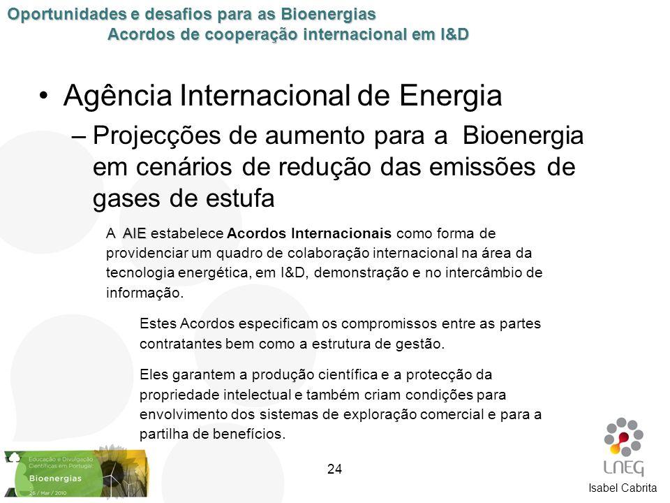 Isabel Cabrita Agência Internacional de Energia –Projecções de aumento para a Bioenergia em cenários de redução das emissões de gases de estufa Oportu