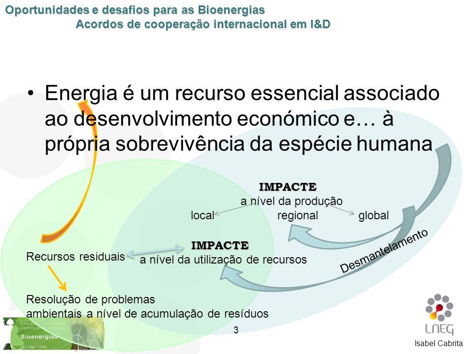 Isabel Cabrita Energia é um recurso essencial associado ao desenvolvimento económico e… à própria sobrevivência da espécie humana IMPACTE a nível da p