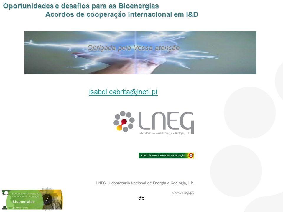 Isabel Cabrita isabel.cabrita@ineti.pt 36 Oportunidades e desafios para as Bioenergias Acordos de cooperação internacional em I&D Obrigada pela Vossa