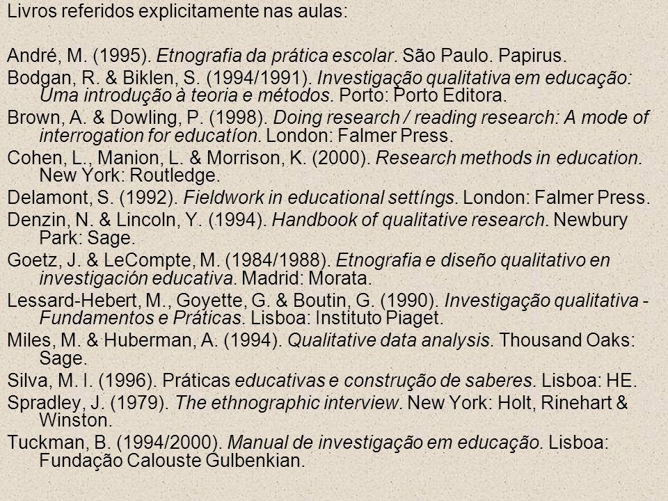 Livros referidos explicitamente nas aulas: André, M. (1995). Etnografia da prática escolar. São Paulo. Papirus. Bodgan, R. & Biklen, S. (1994/1991). I