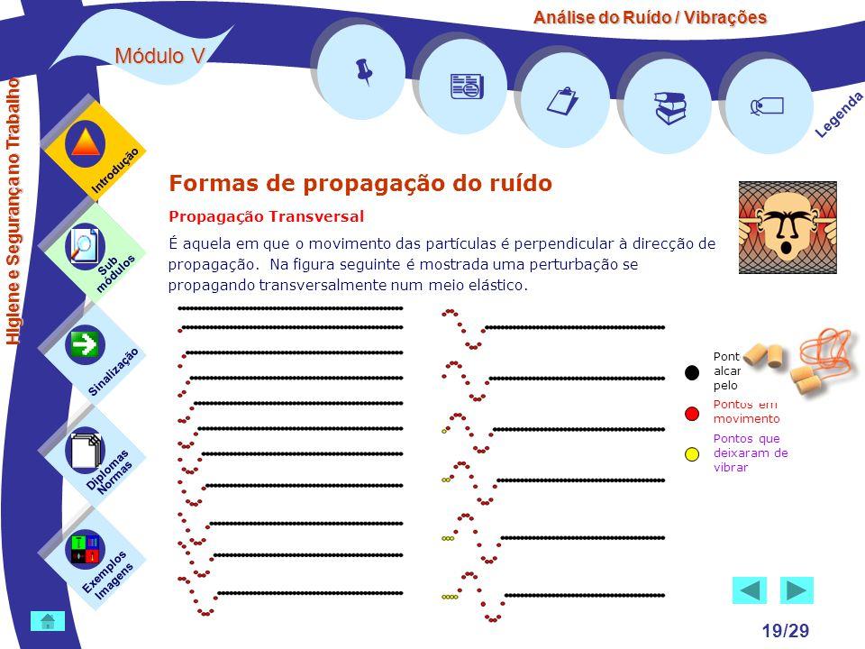 Análise do Ruído / Vibrações Módulo V 19/29 Formas de propagação do ruído Propagação Transversal É aquela em que o movimento das partículas é perpendi