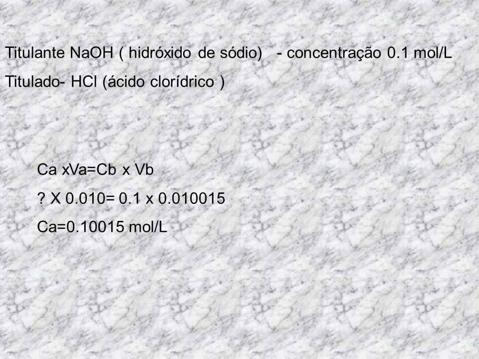 Titulante NaOH ( hidróxido de sódio) - concentração 0.1 mol/L Titulado- HCl (ácido clorídrico ) Ca xVa=Cb x Vb ? X 0.010= 0.1 x 0.010015 Ca=0.10015 mo