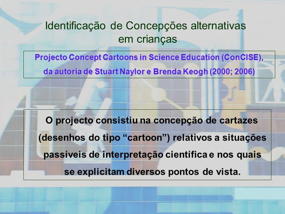 Identificação de Concepções alternativas em crianças O projecto consistiu na concepção de cartazes (desenhos do tipo cartoon) relativos a situações passíveis de interpretação científica e nos quais se explicitam diversos pontos de vista.
