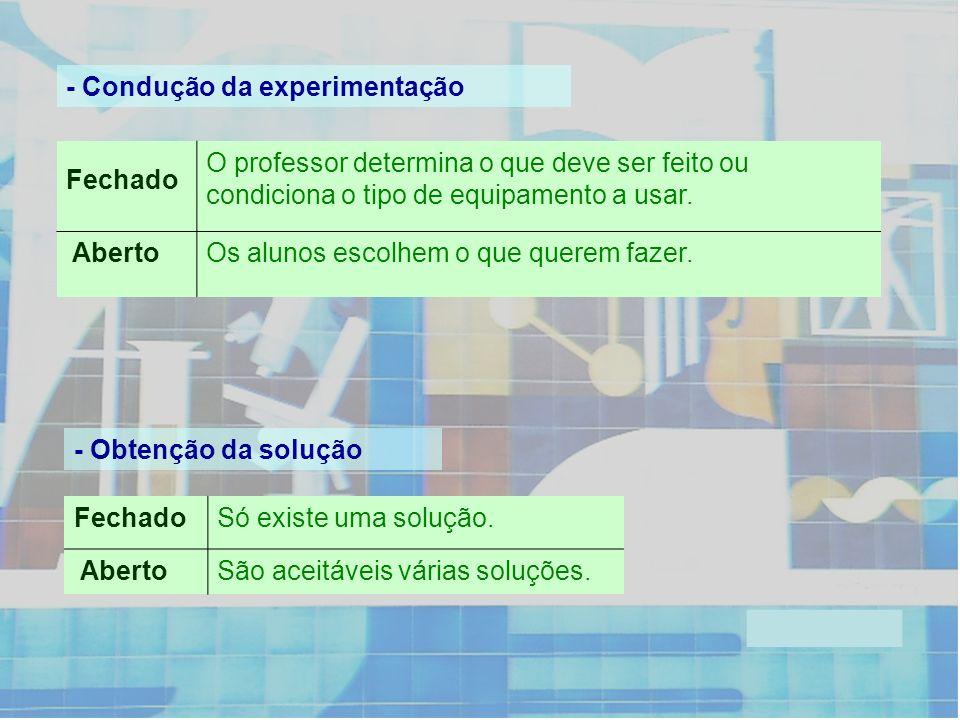 - Condução da experimentação Fechado O professor determina o que deve ser feito ou condiciona o tipo de equipamento a usar. AbertoOs alunos escolhem o
