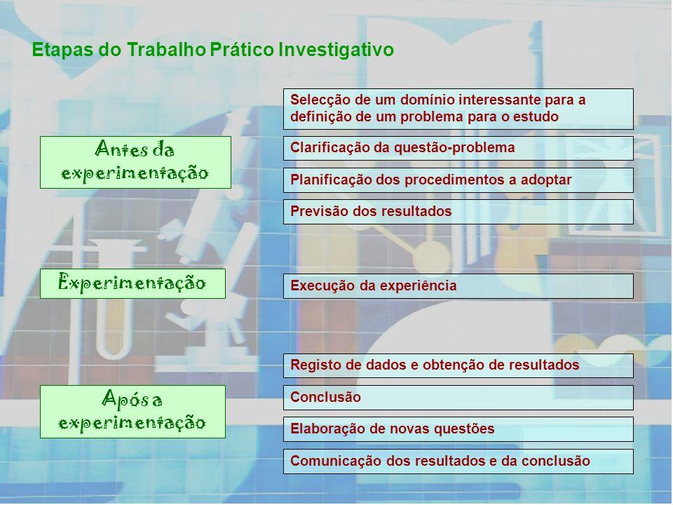 Etapas do Trabalho Prático Investigativo Selecção de um domínio interessante para a definição de um problema para o estudo Clarificação da questão-pro