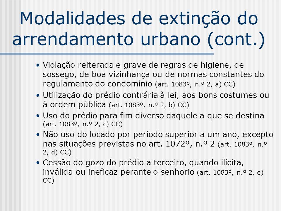 Modalidades de extinção do arrendamento urbano (cont.) Violação reiterada e grave de regras de higiene, de sossego, de boa vizinhança ou de normas con