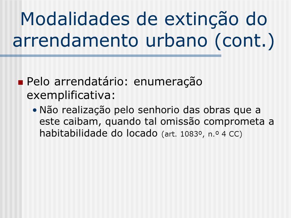 Modalidades de extinção do arrendamento urbano (cont.) Pelo arrendatário: enumeração exemplificativa: Não realização pelo senhorio das obras que a est