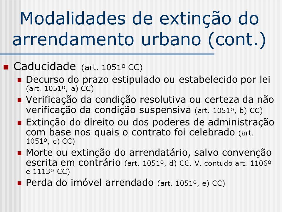 Modalidades de extinção do arrendamento urbano (cont.) Caducidade (art. 1051º CC) Decurso do prazo estipulado ou estabelecido por lei (art. 1051º, a)