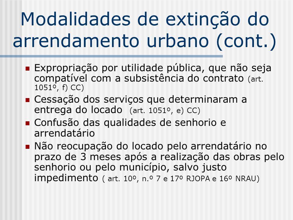 Modalidades de extinção do arrendamento urbano (cont.) Expropriação por utilidade pública, que não seja compatível com a subsistência do contrato (art