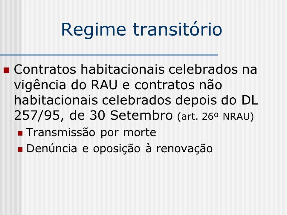 Regime transitório (cont.) Contratos habitacionais celebrados antes da vigência do RAU e contratos não habitacionais celebrados antes do DL 257/95, de 30 Setembro (art.