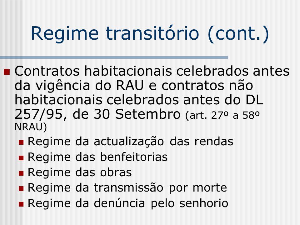 Regime transitório (cont.) Contratos habitacionais celebrados antes da vigência do RAU e contratos não habitacionais celebrados antes do DL 257/95, de