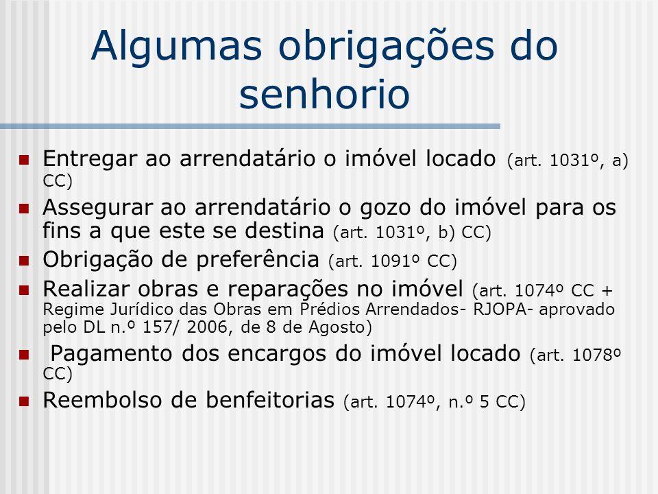 Algumas obrigações do senhorio Entregar ao arrendatário o imóvel locado (art. 1031º, a) CC) Assegurar ao arrendatário o gozo do imóvel para os fins a