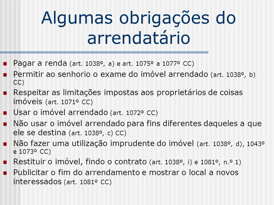Algumas obrigações do arrendatário Pagar a renda (art. 1038º, a) e art. 1075º a 1077º CC) Permitir ao senhorio o exame do imóvel arrendado (art. 1038º