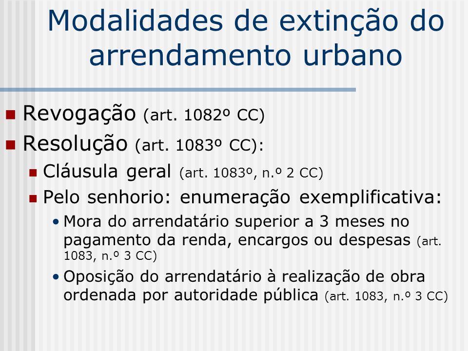 Modalidades de extinção do arrendamento urbano Revogação (art. 1082º CC) Resolução (art. 1083º CC): Cláusula geral (art. 1083º, n.º 2 CC) Pelo senhori