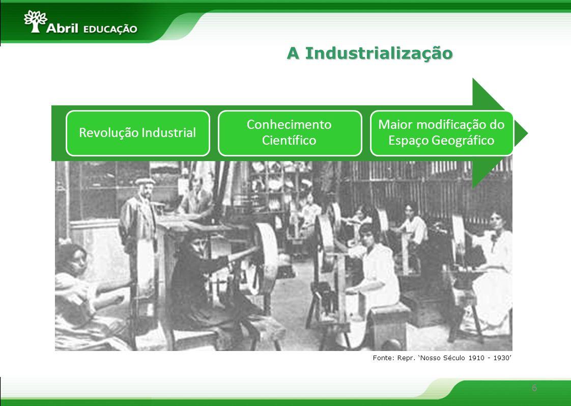 6 Revolução Industrial Conhecimento Científico Maior modificação do Espaço Geográfico Fonte: Repr. Nosso Século 1910 - 1930 A Industrialização