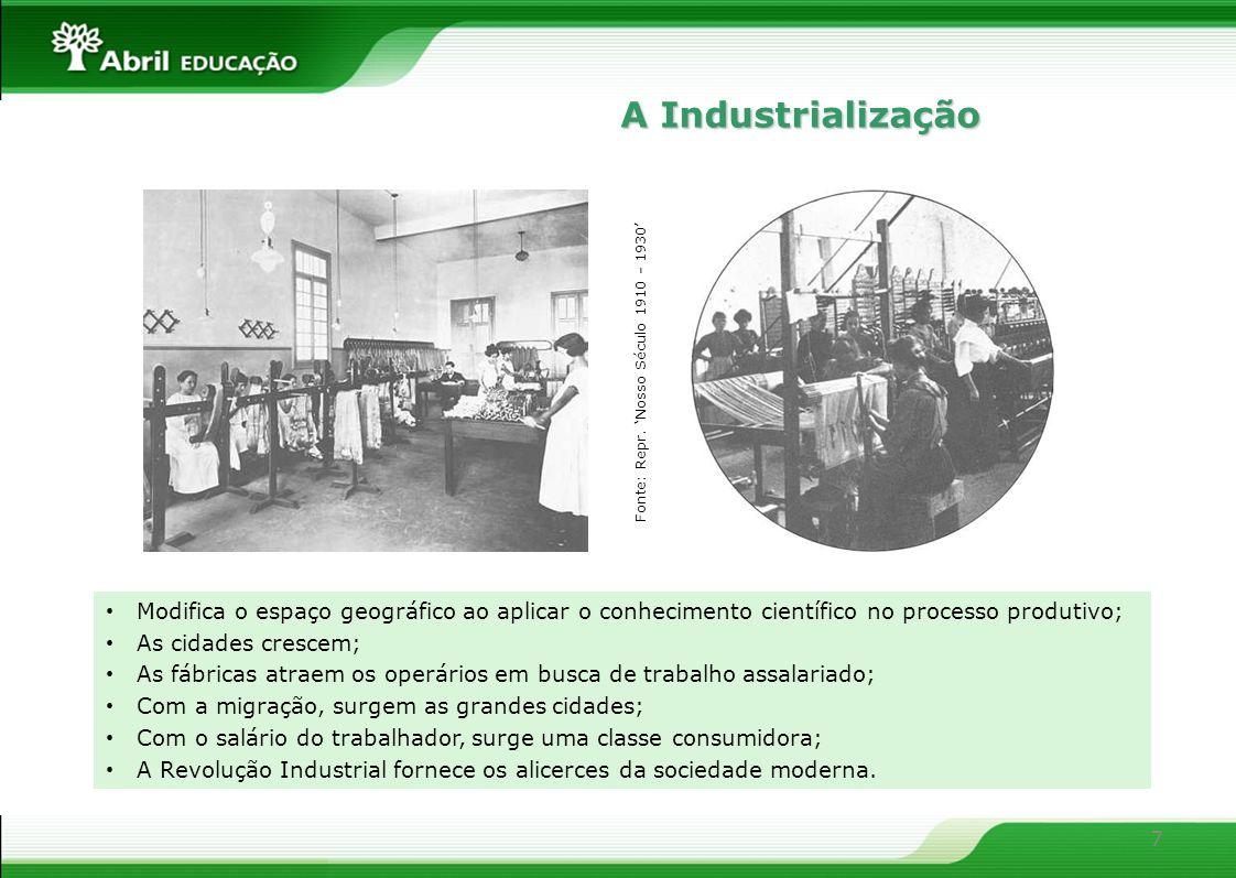 7 Modifica o espaço geográfico ao aplicar o conhecimento científico no processo produtivo; As cidades crescem; As fábricas atraem os operários em busc