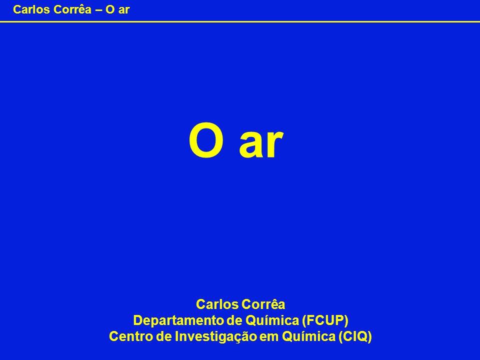 Carlos Corrêa – O ar Ar Oxigénio – O 2 Azoto – N 2 O O (Dioxigénio) (Diazoto) N O NN N Principalmente: