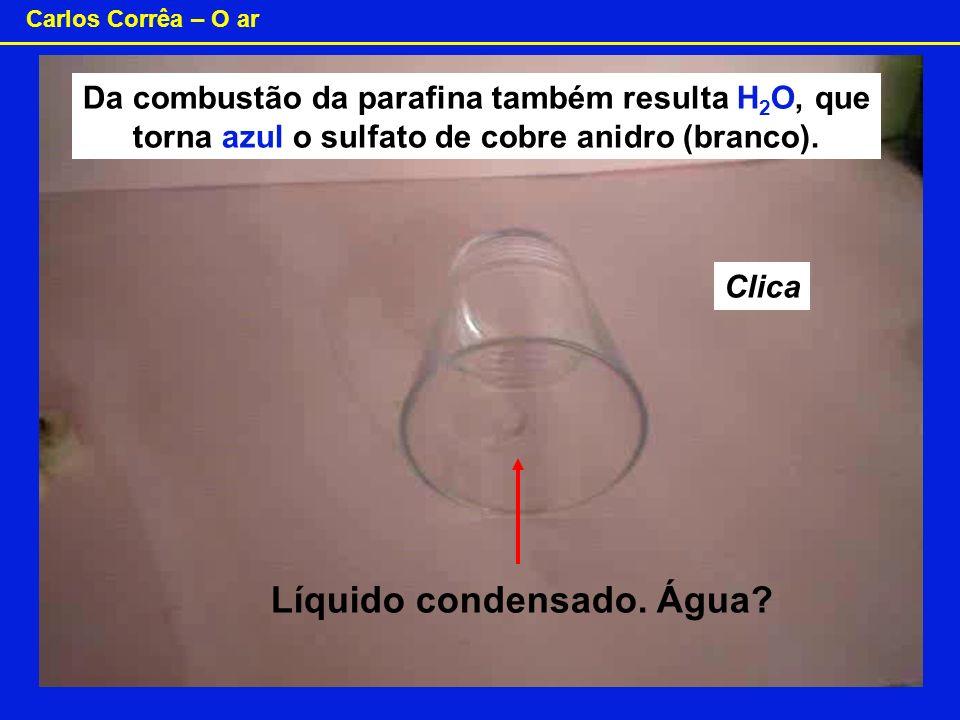Carlos Corrêa – O ar Da combustão da parafina também resulta H 2 O, que torna azul o sulfato de cobre anidro (branco). Clica Líquido condensado. Água?