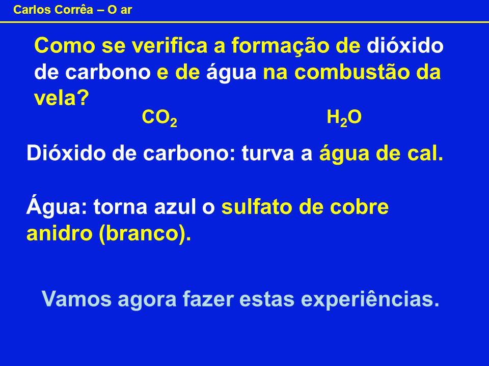 Carlos Corrêa – O ar Como se verifica a formação de dióxido de carbono e de água na combustão da vela? Dióxido de carbono: turva a água de cal. Água: