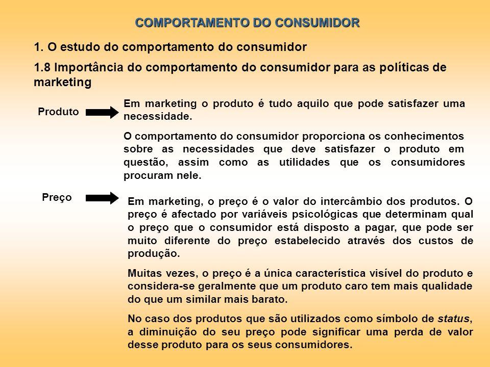 COMPORTAMENTO DO CONSUMIDOR 1. O estudo do comportamento do consumidor 1.8 Importância do comportamento do consumidor para as políticas de marketing E