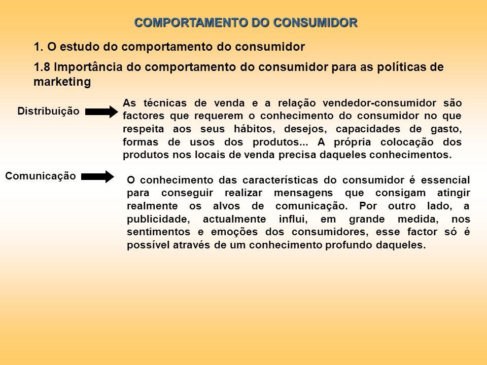 COMPORTAMENTO DO CONSUMIDOR 1. O estudo do comportamento do consumidor 1.8 Importância do comportamento do consumidor para as políticas de marketing A