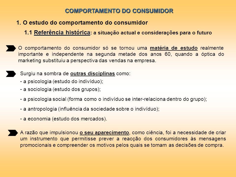 COMPORTAMENTO DO CONSUMIDOR 1. O estudo do comportamento do consumidor Referência histórica 1.1 Referência histórica : a situação actual e consideraçõ